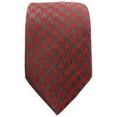 GIORGIO ARMANI Burgundy & Charcoal Matte & Metallic Houndstooth Silk Blend Tie