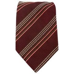 GIORGIO ARMANI Burgundy Striped Textured Silk Tie
