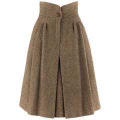 GIORGIO ARMANI c.1980's Brown Tweed High Waisted Pleated Fit Flare A-Line Skirt