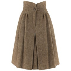 GIORGIO ARMANI c.1980's Brown Tweed Wool Pleated Fit And Flare A-Line Skirt