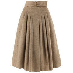 GIORGIO ARMANI c.1980's Brown Tweed Wool Pleated Wrap Buckle A-Line Skirt