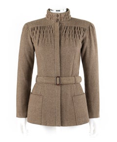 GIORGIO ARMANI c.1980's Light Brown Tweed Belted Ruched High Neck Jacket