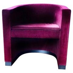 Giorgio Armani Casa Andromeda Modern Cranberry Red Velvet Tub Club Chair, Oak