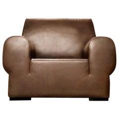 Giorgio Armani Casa Brown Leather Metropolian Club Chair Geometric Deco Armchair