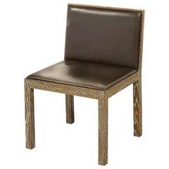 Giorgio Armani Casa Cerused Oak and Lajan Leather Minimal Dining Chair, Italy