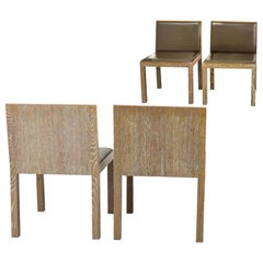 Giorgio Armani Casa Cerused Oak and Lajan Leather Minimal Dining Chair, Italy