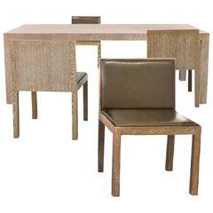 Giorgio Armani Casa Cerused Oak Dining Table and Chairs Set for Four, Leather