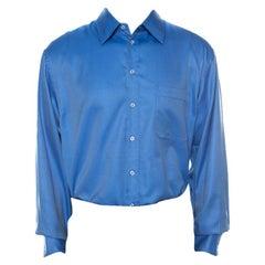 Giorgio Armani Classico Blue Diagonal Pin Stripe Cotton Full Sleeve Shirt 3XL