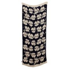 Giorgio Armani Collezioni Blue Beige Silk Floral Scarf