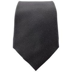 GIORGIO ARMANI Cravatte Woven Black Silk Tie
