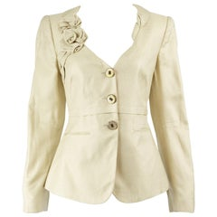 Giorgio Armani Cream Brocade Jacquard Jacket with Origami Flower Lapel