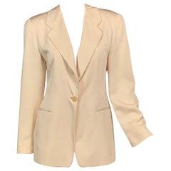 Giorgio Armani Cream Silk Single Button Jacket