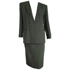 Giorgio ARMANI dark and light grey lines, jacket skirt wool suit - Unworn, New