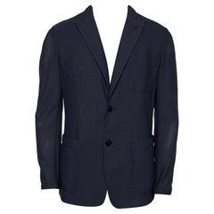 Giorgio Armani Dark Grey Mesh Button Front Blazer XL