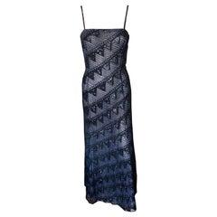Giorgio Armani F/W 1999 Runway Vintage Embellished Sheer Mesh Black Dress Gown