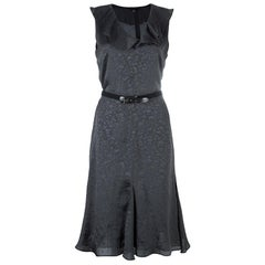 Giorgio Armani Grey Belted Silk Dress M