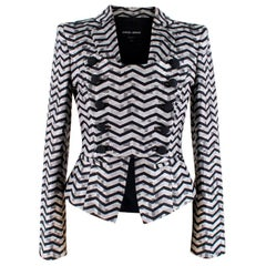 Giorgio Armani Grey Button-Up Chevron Print Blazer - Size US2