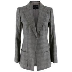 Giorgio Armani Grey Checkered Wool Single Breasted Tailored Jacket - Size US 6