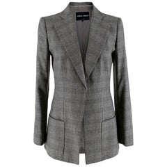 Giorgio Armani Grey Checkered Wool Single Breasted Tailored Jacket - Size US 6
