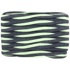 Giorgio Armani Grey/Green Wool & Nylon Twist Clutch