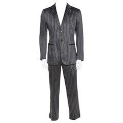Giorgio Armani Grey Striped Linen Silk Tailored Suit M