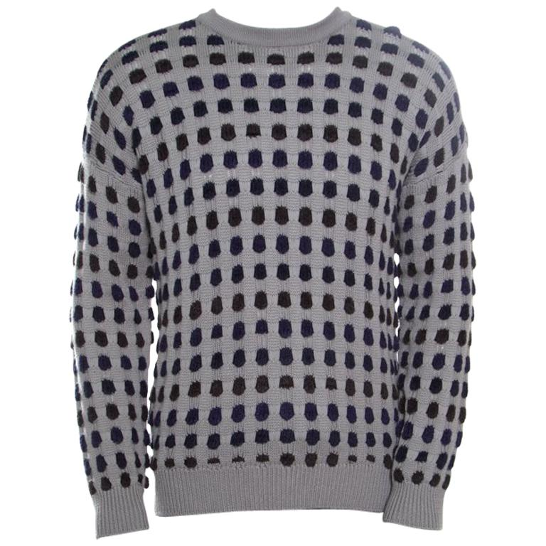 f78b49e8a1ecbd Giorgio Armani Grey Textured Dotted Sweater XL For Sale at 1stdibs