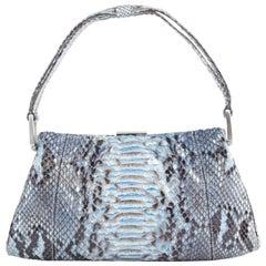 GIORGIO ARMANI holographic blue python leather top handle evening handbag bag