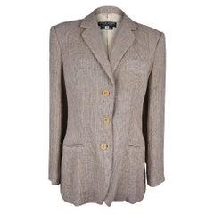 Giorgio Armani Jacket Linen Windowpane Neutral Tones 46 fits 10 / 12