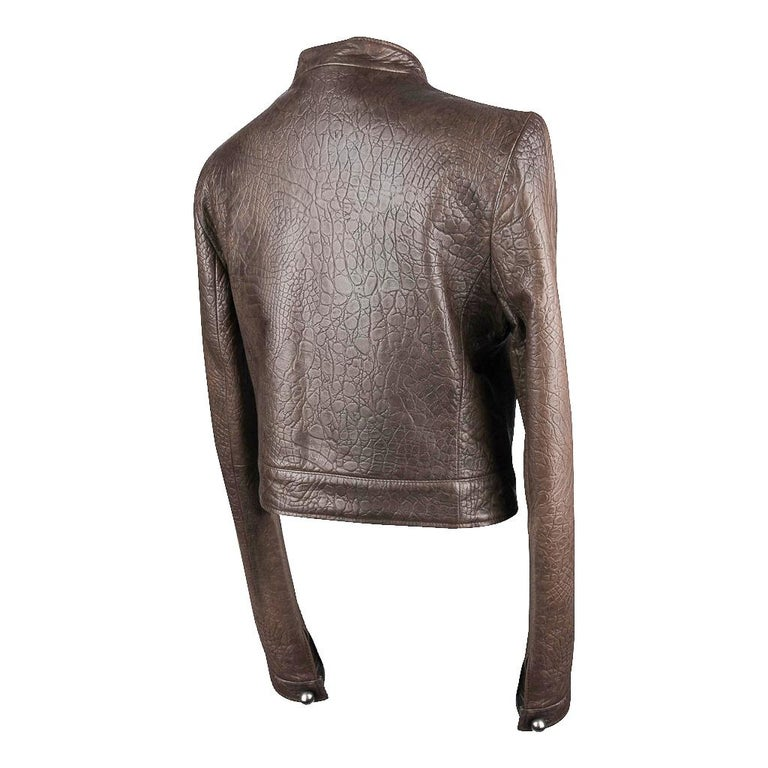 Giorgio Armani Jacket Taupe Leather Hardware Detail 8 / 42 New For Sale 6