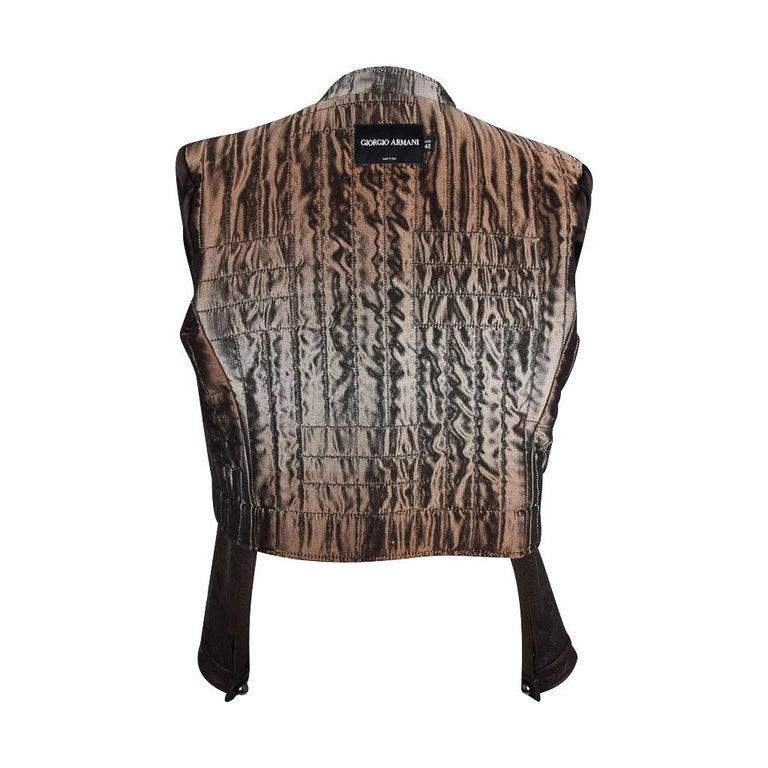 Giorgio Armani Jacket Taupe Leather Hardware Detail 8 / 42 New For Sale 8