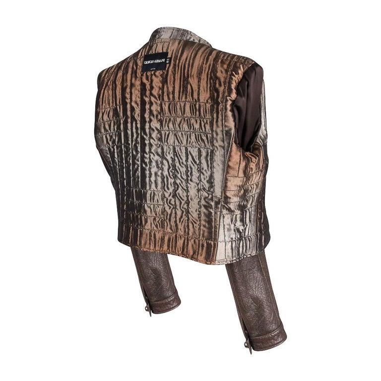 Giorgio Armani Jacket Taupe Leather Hardware Detail 8 / 42 New For Sale 9