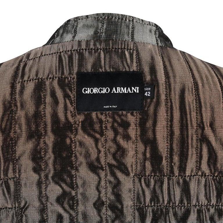 Giorgio Armani Jacket Taupe Leather Hardware Detail 8 / 42 New For Sale 10