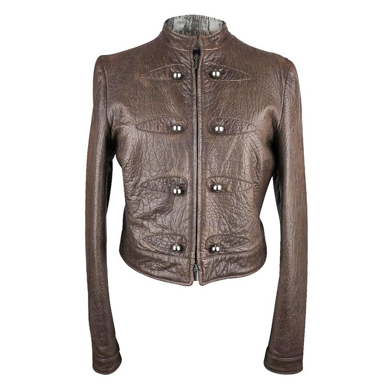 Black Giorgio Armani Jacket Taupe Leather Hardware Detail 8 / 42 New For Sale