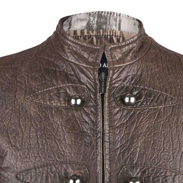Giorgio Armani Jacket Taupe Leather Hardware Detail 8 / 42 New In New Condition For Sale In Miami, FL
