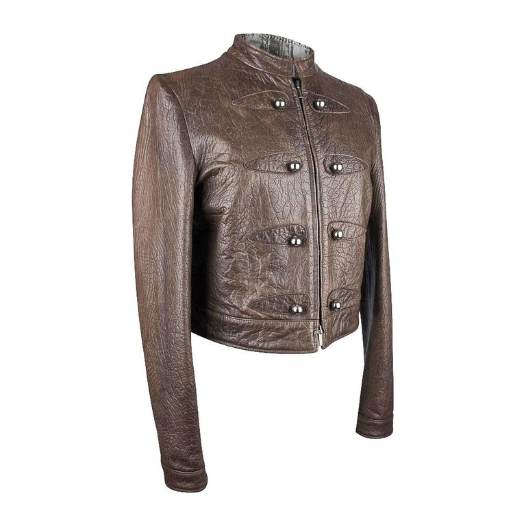 Women's Giorgio Armani Jacket Taupe Leather Hardware Detail 8 / 42 New For Sale