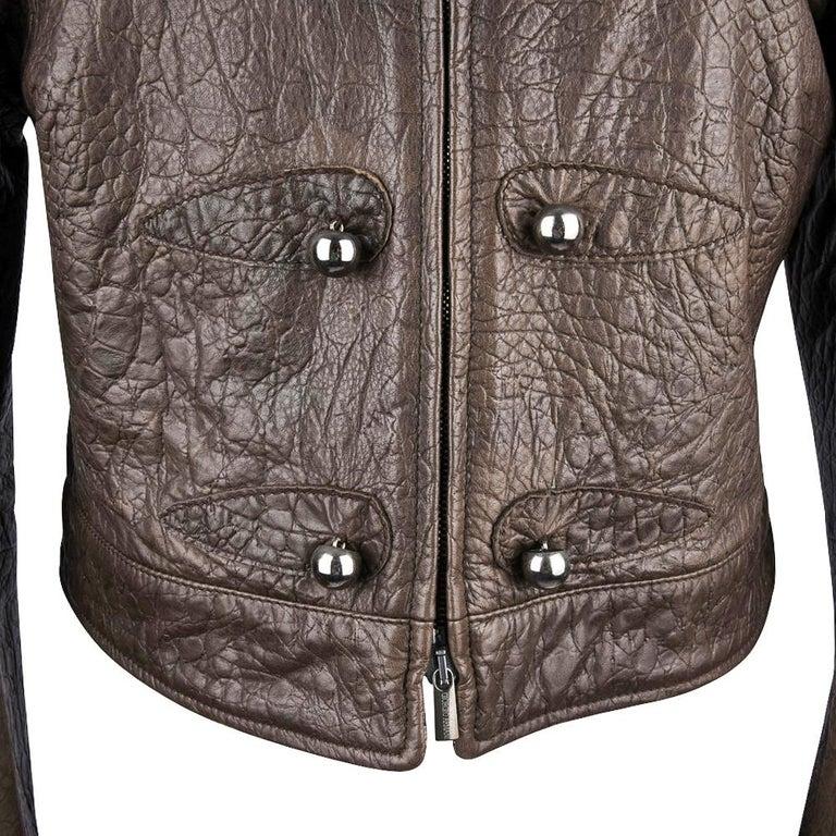 Giorgio Armani Jacket Taupe Leather Hardware Detail 8 / 42 New For Sale 1
