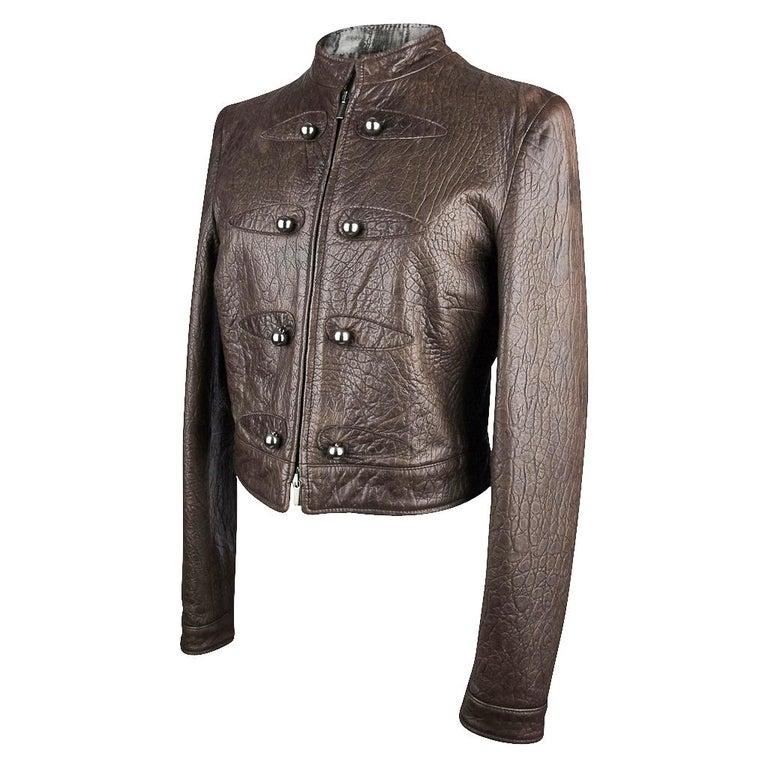 Giorgio Armani Jacket Taupe Leather Hardware Detail 8 / 42 New For Sale 2
