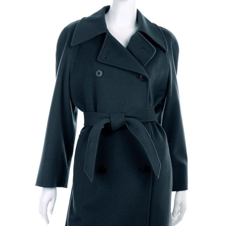 Giorgio Armani Le Collezioni Deep Gray Green Double Breasted Wool Coat For Sale 5