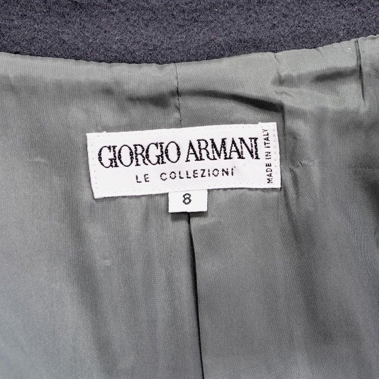 Giorgio Armani Le Collezioni Deep Gray Green Double Breasted Wool Coat For Sale 6
