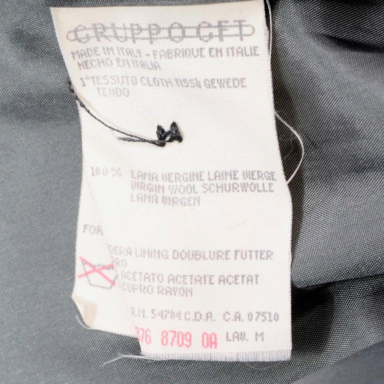 Giorgio Armani Le Collezioni Deep Gray Green Double Breasted Wool Coat For Sale 8