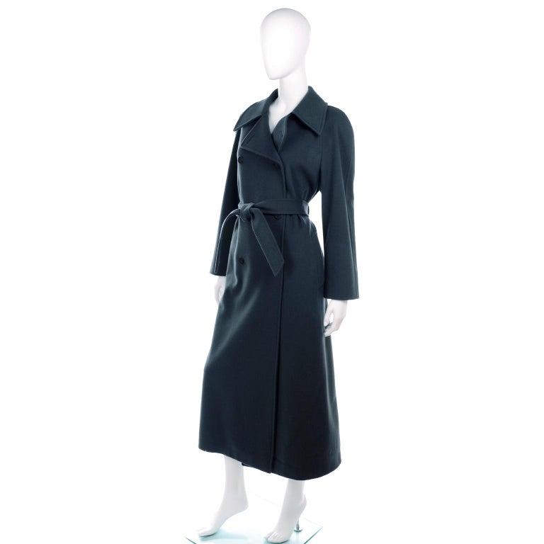 Black Giorgio Armani Le Collezioni Deep Gray Green Double Breasted Wool Coat For Sale