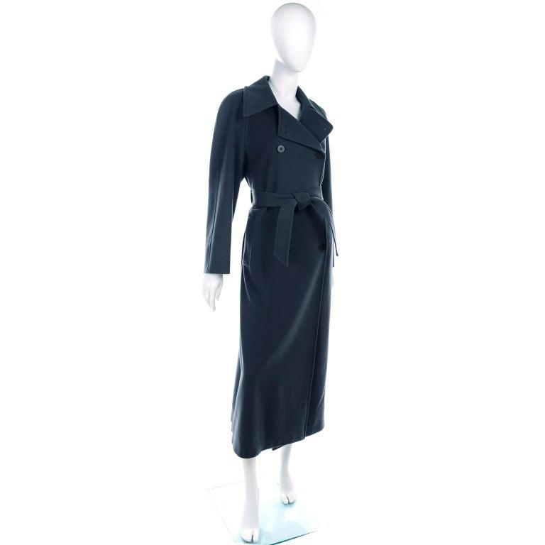 Women's Giorgio Armani Le Collezioni Deep Gray Green Double Breasted Wool Coat For Sale