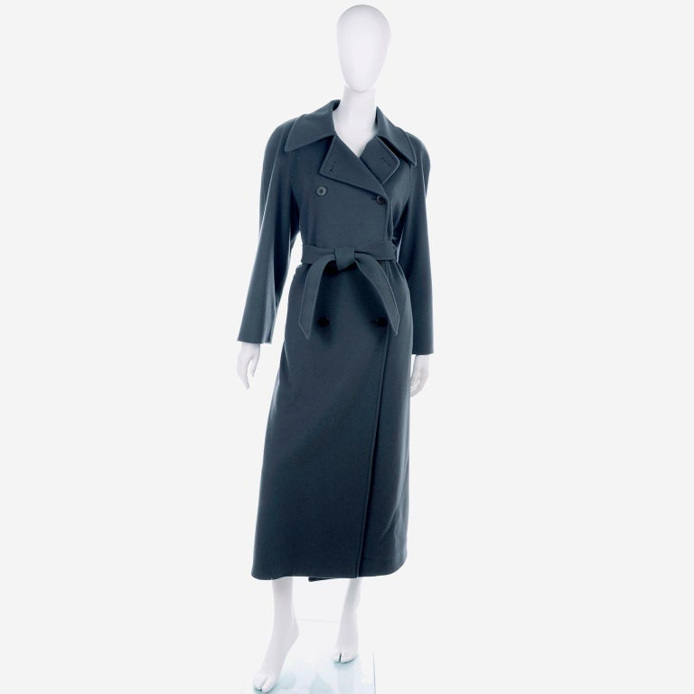 Giorgio Armani Le Collezioni Deep Gray Green Double Breasted Wool Coat For Sale 1