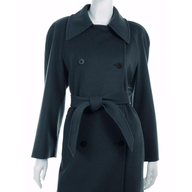 Giorgio Armani Le Collezioni Deep Gray Green Double Breasted Wool Coat For Sale 2