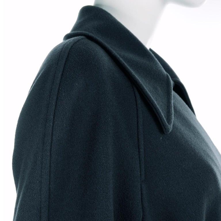 Giorgio Armani Le Collezioni Deep Gray Green Double Breasted Wool Coat For Sale 3