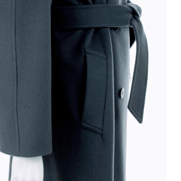Giorgio Armani Le Collezioni Deep Gray Green Double Breasted Wool Coat For Sale 4