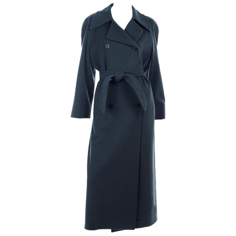 Giorgio Armani Le Collezioni Deep Gray Green Double Breasted Wool Coat For Sale