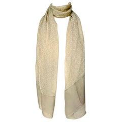 Giorgio Armani Le Collezioni Long Silk Chiffon Warm Beige Circles Print Scarf