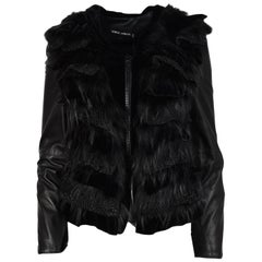 Giorgio Armani Leather Jacket W/ Crystal Zip, Velvet & Fur Trim Sz 40