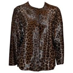 Giorgio Armani Leopard Print Calf Hair Cropped Jacket